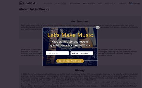 Screenshot of About Page artistworks.com - About Us | Executive Team and Teachers | ArtistWorks - captured Aug. 15, 2019