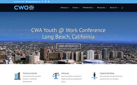 Screenshot of Home Page calworkforce.org - CWA | California Workforce Association - captured Oct. 17, 2016
