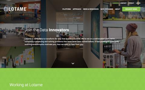 Screenshot of Jobs Page lotame.com - Lotame: Become a Data Innovator - captured Jan. 22, 2016
