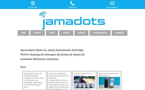 Screenshot of Press Page jamadots.com - jamadots.com - news / weather / radio - captured Sept. 28, 2018