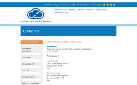 Screenshot of Contact Page innovativecomp.com - Contact Us - captured Nov. 26, 2016