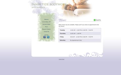 Screenshot of Hours Page innertidebodywork.com - Inner Tide Bodywork - captured Sept. 30, 2014