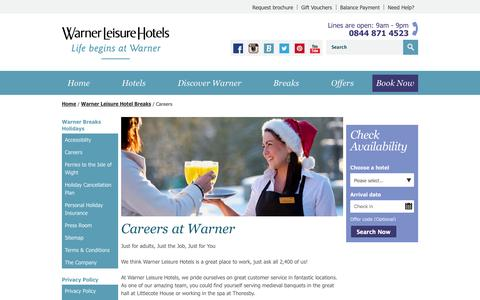 Screenshot of Jobs Page warnerleisurehotels.co.uk - Careers | Warner Leisure Hotels - captured Nov. 2, 2014