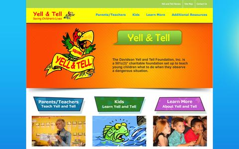 Screenshot of Home Page yellandtell.com - Yell and Tell Teaching children what to do in dangerous situations: Yell and Tell - captured Oct. 6, 2014