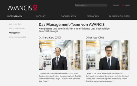 Screenshot of Team Page avancis.de - Kompetenz in CIS-Photovoltaik, Management-Team - Avancis - captured July 27, 2016