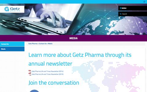 Screenshot of Press Page getzpharma.com - Media - Getz Pharma - Getz Pharma - captured July 5, 2017