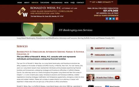 Screenshot of Services Page ny-bankruptcy.com - Long Island, Nassau and Suffolk County Bankruptcy and Foreclosure Attorney   NY-Bankruptcy.com   Ronald D. Weiss, PC - captured April 24, 2018