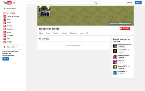 Screenshot of YouTube Page youtube.com - Woodstock Smiles  - YouTube - captured Oct. 26, 2014