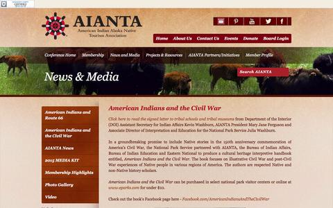 Screenshot of Press Page aianta.org - American Indians and the Civil War - captured Feb. 6, 2016