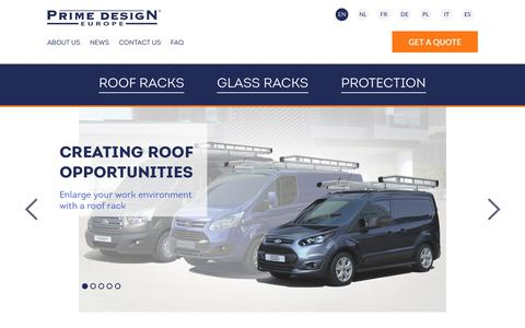 Screenshot of primedesigneurope.eu - Prime Design Europe complete range of roof rack systems  - Prime Design Europe - Premium Roof Racks for Your Van - captured July 9, 2017