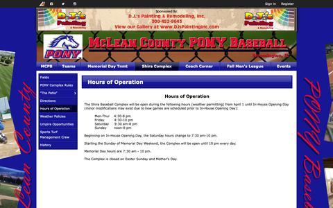 Screenshot of Hours Page mcponybaseball.com - Hours of Operation | McLean County PONY Baseball - captured Nov. 15, 2018