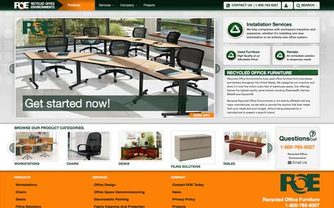 Screenshot of Home Page Products Page Services Page roefurniture.com - Home - ROE - Recycled Office Environments, Inc - New, Used, Remanufactured, Cubicles, Chairs, Desks, Wisconsin, Wausau, Stevens Point, Wisconsin Rapids, Milwaukee, Madison, Green Bay, Appleton, Oshkosh - captured Oct. 6, 2014