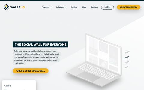 Screenshot of Home Page walls.io - The Social Wall for Everyone — Walls.io - captured Sept. 19, 2018