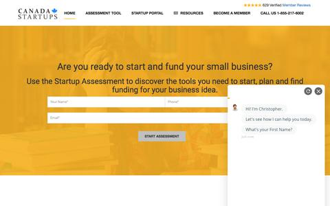 Screenshot of Home Page canadastartups.org - Canada Small Business Startups and Funding - captured July 11, 2019