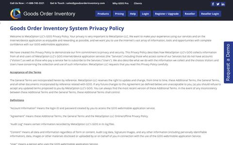 Screenshot of Privacy Page goodsorderinventory.com - GOIS PRO- Product | Inventory Management apps - Privacy Policy - captured Feb. 10, 2016