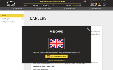 Screenshot of Jobs Page scienceinsport.com - Careers  | Science In Sport - captured July 25, 2018