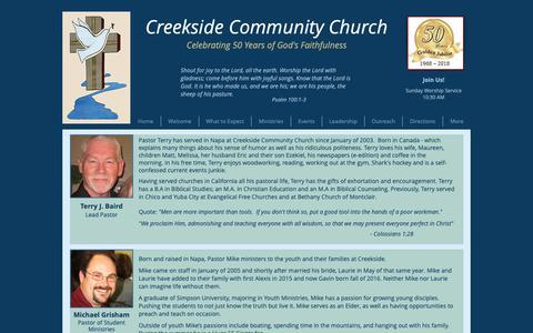 Screenshot of Team Page creeksidechurchnapa.org - Creekside Community Church | Leadership - captured Sept. 30, 2018