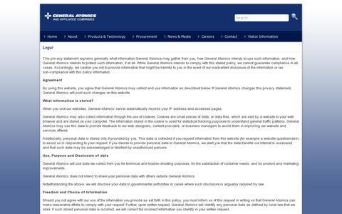 Screenshot of Terms Page ga.com - Legal - captured July 18, 2014