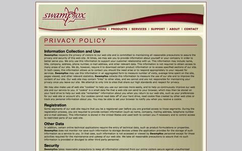 Screenshot of Privacy Page swampfoxinc.com - Swampfox Inc., the Voice Portal experts - captured Nov. 5, 2014
