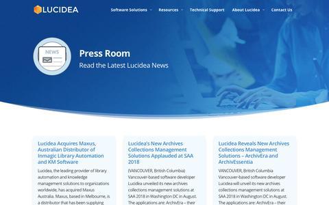 Screenshot of Press Page lucidea.com - Press Room – Read the Latest Lucidea News | Lucidea - captured Sept. 19, 2018