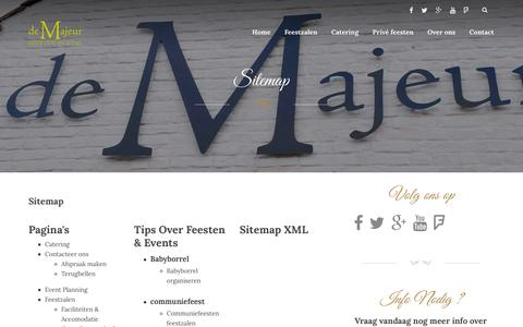 Screenshot of Site Map Page demajeur.be - Sitemap - Feestzalen De Majeur - captured Jan. 7, 2016
