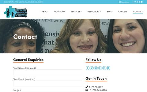Screenshot of Contact Page steinbergbehaviorsolutions.com - Contact Steinberg Behavior About Applied Behavior Analysis Therapy - captured Sept. 21, 2018