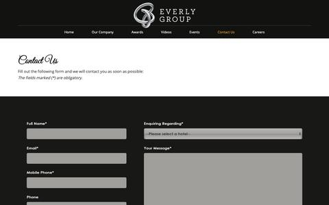 Screenshot of Contact Page teg-hotels.com - Contact Us - Everly Group, Hospitality Management Group in Malaysia - captured Sept. 29, 2018