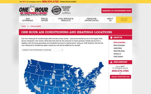 Screenshot of Locations Page onehourheatandair.com - HVAC Contractors Directory - One Hour Heating and Air Conditioning® Locations - captured June 26, 2017