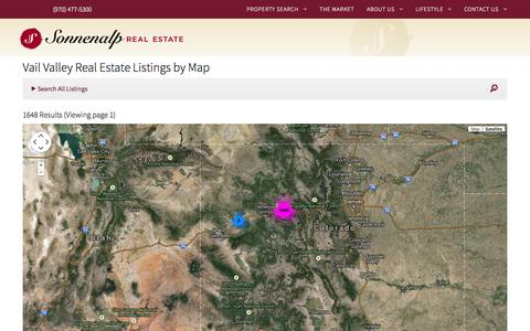 Screenshot of Maps & Directions Page sonnenalprealestate.com - Vail Valley Real Estate Listings by Map | Sonnenalp Real Estate - captured Sept. 30, 2014