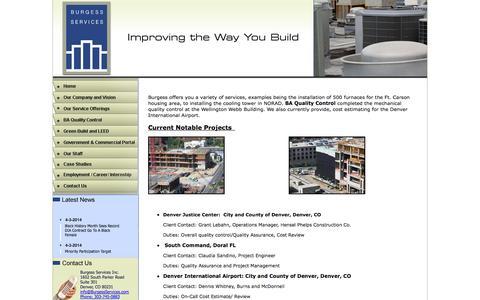 Screenshot of Case Studies Page burgessservices.com - Case Studies - captured Sept. 30, 2014