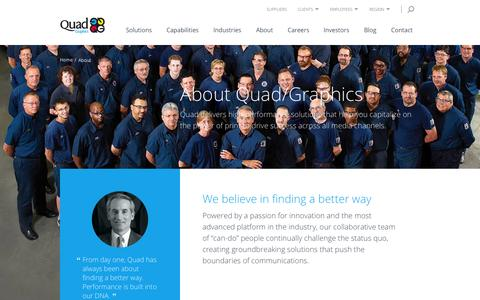 Screenshot of About Page qg.com - About Quad/Graphics | Quad/Graphics - captured Nov. 10, 2015