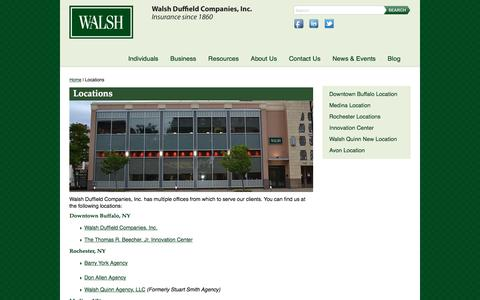 Screenshot of Locations Page walshins.com - Locations - Walsh Duffield Companies, Inc. - captured Nov. 28, 2016