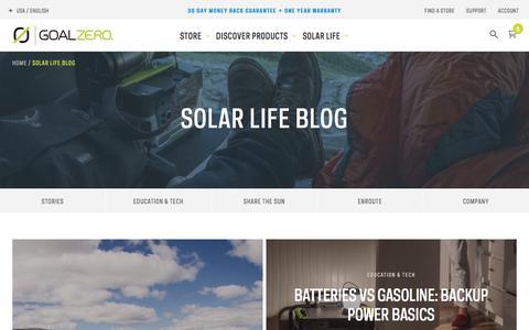 Screenshot of Blog goalzero.com - Blog / Goal Zero - captured March 15, 2018