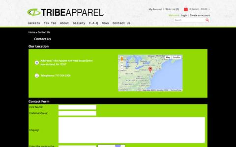 Screenshot of Contact Page tribeapparel.com - Contact Us - captured Oct. 28, 2014