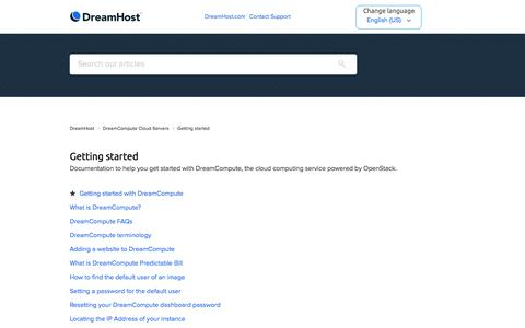 Screenshot of Support Page dreamhost.com - Getting started – DreamHost - captured Feb. 21, 2020