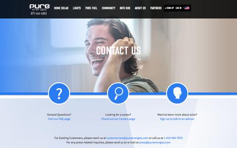 Screenshot of Contact Page pureenergies.com - Contact Us - Pure Energies USA - captured Oct. 10, 2014