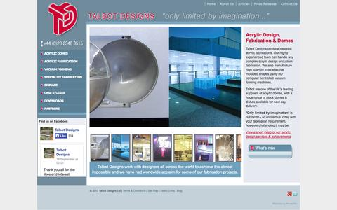 Screenshot of Home Page talbotdesigns.co.uk - Acrylic Domes, Plastic Fabrication & Acrylic Design » - captured Oct. 1, 2014