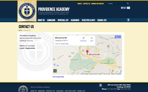 Screenshot of Contact Page providenceacademyva.org - Contact Us (Providence Academy VA) - captured Oct. 3, 2014