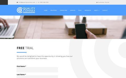 Screenshot of Trial Page qualityconnex.com - Get a free trial - captured Dec. 9, 2015