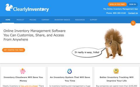 Screenshot of Home Page clearlyinventory.com - Clearly Inventory - Online Inventory Management Software - Home - captured Nov. 4, 2018