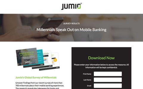 Screenshot of Landing Page jumio.com - Millennials Speak Out on Mobile Banking - captured May 5, 2018
