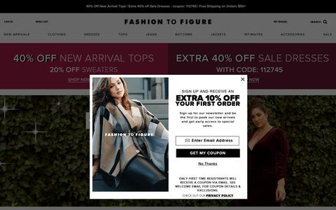 Screenshot of Home Page fashiontofigure.com - Fashion To Figure | Plus Size Clothing and Fashion for Women - captured Nov. 4, 2018