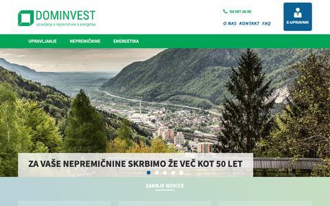 Screenshot of Home Page dominvest.si - Dominvest d.o.o. - Upravljanje, nepremičnine, energetika - captured Oct. 9, 2018