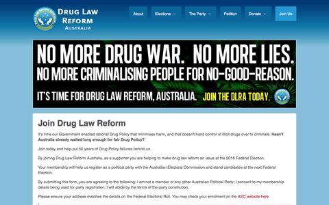 Screenshot of Signup Page druglawreform.com.au - Support Drug Law Reform Australia by becoming a free member - captured Feb. 17, 2016