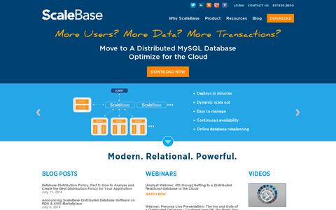 Screenshot of Home Page scalebase.com - Leading MySQL scale out software for the Cloud and on premise - captured July 11, 2014