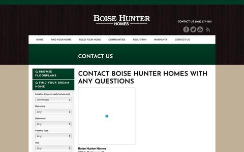 Screenshot of Contact Page boisehunterhomes.com - Contact Us , Boise Hunter Homes , Idaho Custom Home Builders - captured Nov. 6, 2018
