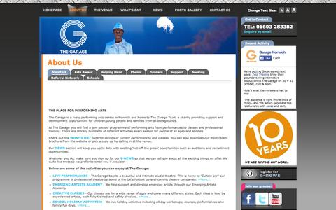 Screenshot of About Page thegarage.org.uk - About The Garage - captured Oct. 26, 2014