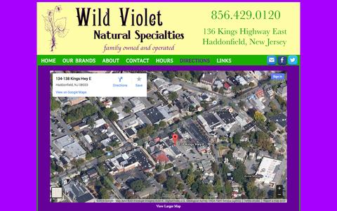 Screenshot of Maps & Directions Page wildvioletnaturalspecialties.com - Wild Violet Google Map - captured Oct. 7, 2014