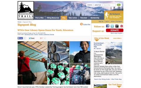 Screenshot of Blog wta.org - Signpost Blog — Washington Trails Association - captured Sept. 22, 2014