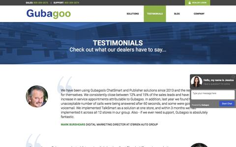 Screenshot of Testimonials Page gubagoo.com - Testimonials - Gubagoo.com - captured Dec. 31, 2016